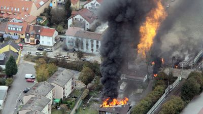 An aerial shot of the damage caused by the gas explosion. (AAP)