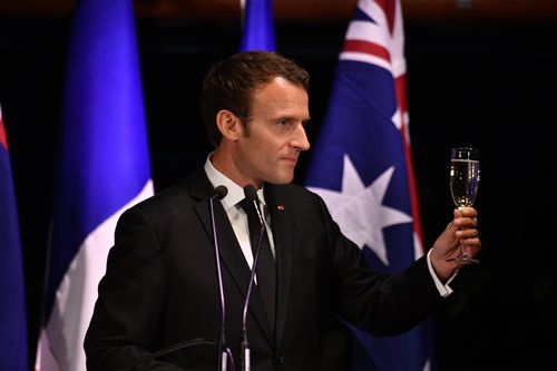 President Macron attended a dinner at the Opera House last night in Sydney. Picture: AAP