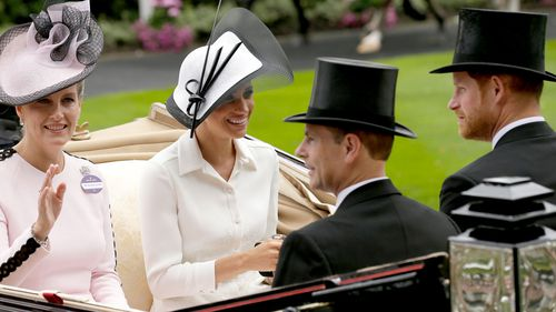 Prince Harry and Meghan arrived at the parade ring with Prince Edward, Earl of Wessex, and Sophie, Countess of Wessex. Picture: AAP