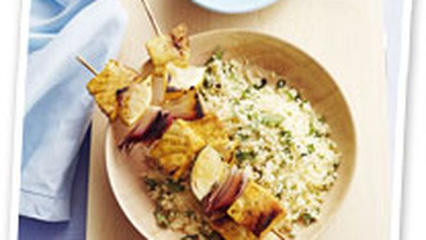 Swordfish kebabs with coriander couscous