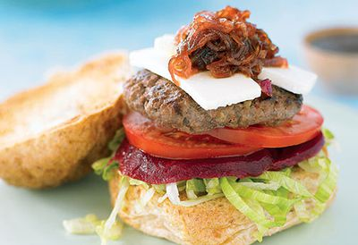 Super beef burger with feta