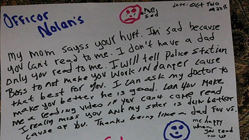 US children leave note for injured police officer thanking him for being a 'like a dad'