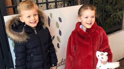 Princess Charlene shares picture of twins heading back to school
