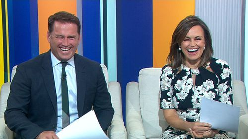 Wilkinson and Stefanovic sharing a laugh on the TODAY Show yesterday before the shock announcement. (9NEWS)