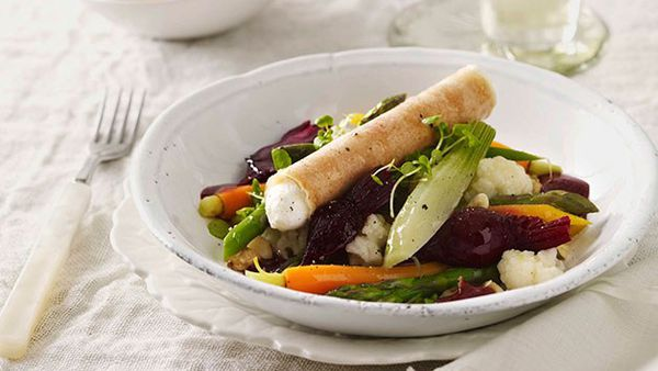 Matt Moran: Baby vegetable salad with goat's curd cigar