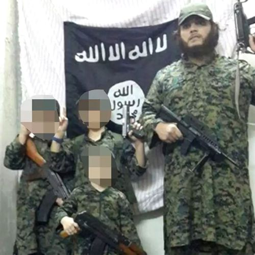 Australian terrorist Khaled Sharrouf, who is likely dead, pictured with his sons in Syria (Supplied).