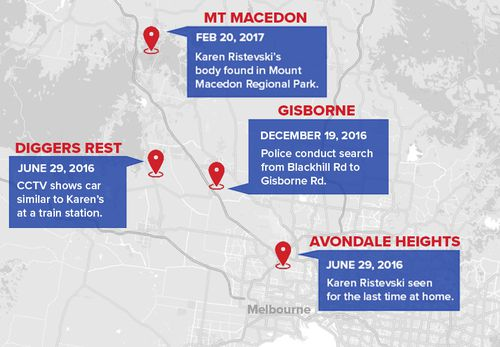 A map showing the major locations in the Karen Ristevski investigation.