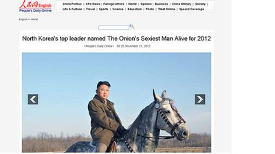 """The announcement that Kim Jong-Un had been named """"The Onion's Sexiest Man Alive For 2012"""" was immediately put to press by the People's Daily in China."""