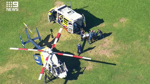 An eight-year-old boy is in a critical condition after taking a fall at Mona Vale Primary School.