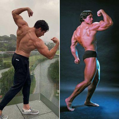 Joseph Baena and Arnold Schwarzenegger