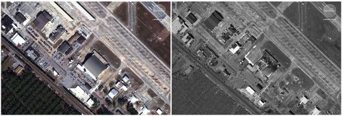 This photo combo of satellite images provided by DigitalGlobe shows Tyndall Air Force Base near Panama City, Fla., on Nov. 17, 2017, left, prior to Hurricane Michael and on Oct. 11, 2018.
