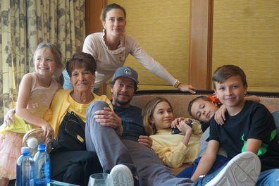 Mark Wahlberg, Rhea Durham,  their four children, Michael, 15, Brendan, 12, Ella, 17, and Grace, 11 with Alma Wahlberg.