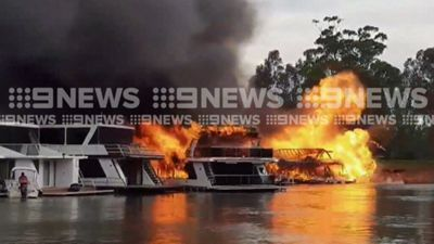 Millions of dollars of boats burn in NSW marina
