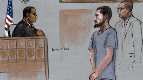 In this Friday, June 12, 2015, file courtroom sketch, Nicholas Rovinski, second from right, of Warwick, R.I., is depicted standing with his attorney William Fick, right, as Magistrate Judge Donald Cabell, left, presides during a hearing in federal court in Boston