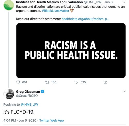 One of the tweets from CrossFit CEO Greg Glassman about George Floyd and the current Black Lives Matter protests happening around the country.