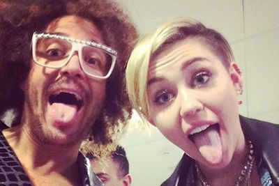 @redfoo: Damn it!!! @mileycyrus your tongue is longer than my....Um.....tongue! great show baby baby!!! #
