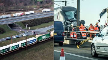 Six people are dead after a passenger train on its way to Copenhagen was struck by objects from a freight train.