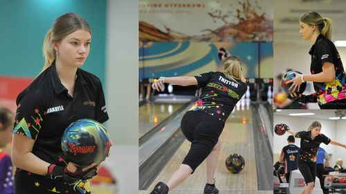 Makayla competing in bowling. (Living and Loving Photography)