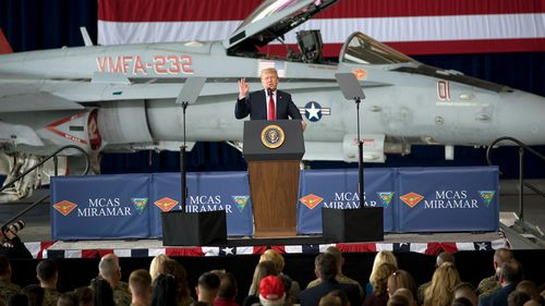 Mr Trump addresses members of the military at the Marine Corps Air Station Miramar in San Diego, California. (AP)