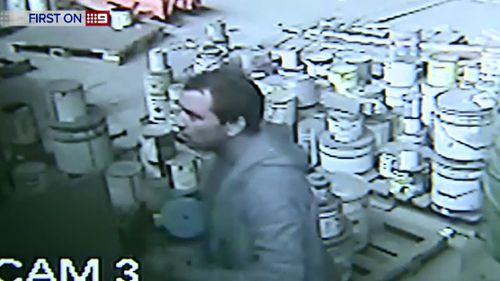 A man has been caught on camera taking parts from a Coopers Plains workshop. (9NEWS)