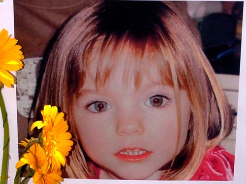 A poster of three-year-old Madeleine McCann, a British girl who went missing in 2007 while on holiday with her parents in Praia da Luz.