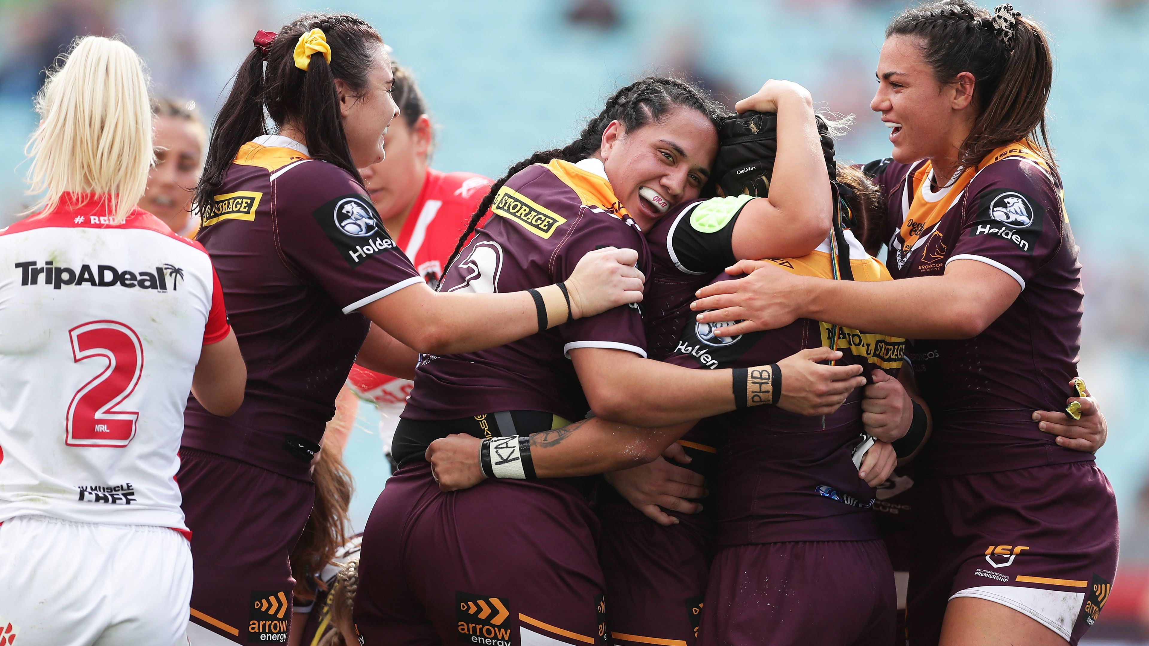 The Broncos celebrate in the NRLW Grand Final.