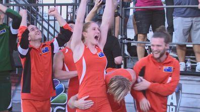 Team Australia was quick to celebrate as Bryson hit the buzzer.