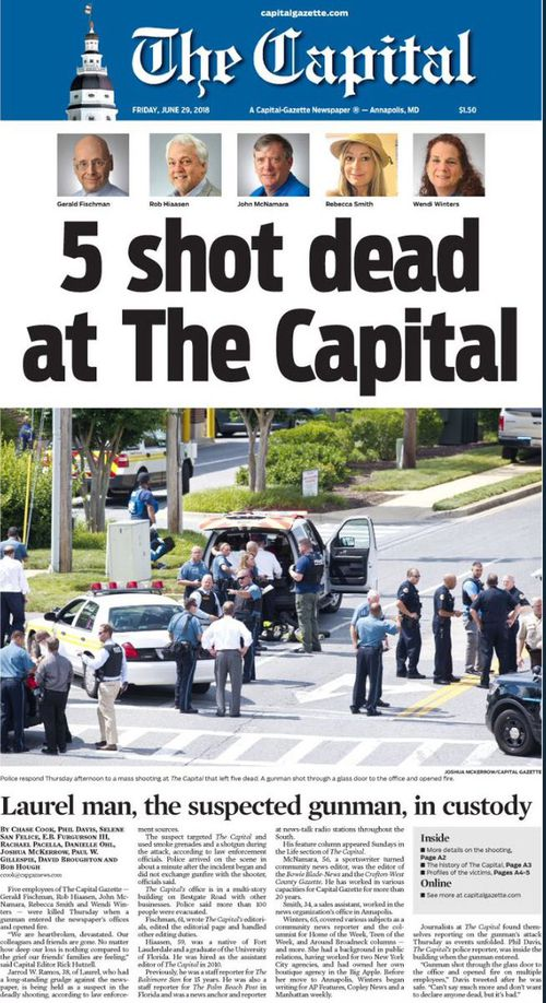 Five staff members at Maryland's Capital Gazette newspaper were killed in one of the deadliest attacks on journalists in US history. Picture: Supplied.