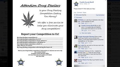 US sheriff's office asks drug dealers to dob in their rivals