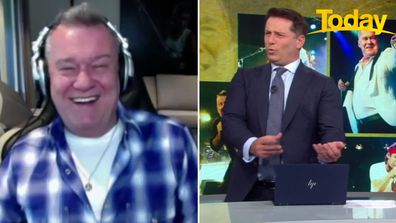 Jimmy Barnes and Karl Stefanovic bond over their love of the Scottish bag pipes.