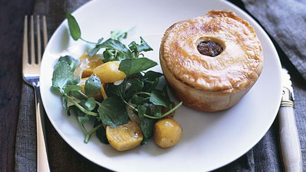 Truffled pork pies with watercress and beetroot salad
