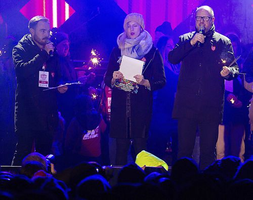 "Gdansk Mayor Pawel Adamowicz grabbed his belly and collapsed in front of the audience at the ""Lights to Heaven"" fundraiser after the attack."