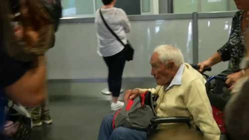 """""""I am glad to arrive,"""" the 104-year-old said from a wheelchair."""