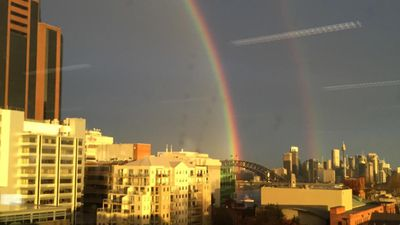 The double rainbow brings joy on an otherwise miserable day. (Twitter, @brunchonjoy)