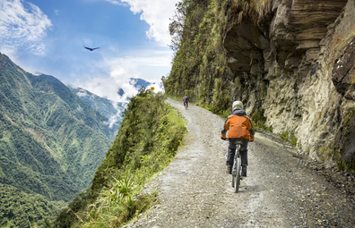 Cyclist riding Boliva's Death Road