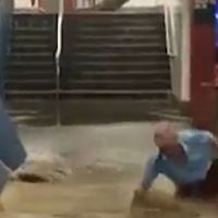 Freak flood sweeps man away at NYC subway station