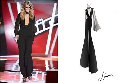 """Gabe says: """"This was a one off custom made Liso Ho jumpsuit. Check out the concept as it was in the sketch development stages!""""<br/><br/>(Images: Channel Nine / Lisa Ho)"""