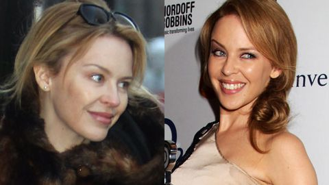 Kylie without makeup (left) and with 'special effect' makeup on the red carpet (right).