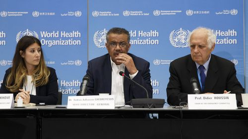 From left, Maria van Kerkhove, Head of Emerging Diseases and Zoonoses Unit, Director General of the World Health Organization, WHO, Tedros Adhanom Ghebreyesus, and Professor Didier Houssin, the Chair of the Emergency Committee hold a press conference after an Emergency Committee meeting on what scientists have identified as a new coronavirus, at the World Health Organization (WHO) headquarters in Geneva, Switzerland, Wednesday, Jan. 22, 2020.