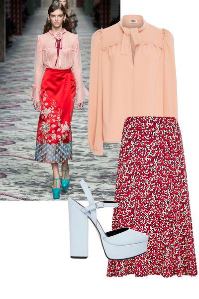 "<a href=""https://www.modaoperandi.com/sonia-by-sonia-rykiel-fw16/ruffled-crepe-blouse?mid=37385"" target=""_blank"">Blouse, $230, Sonia by Sonia Rykiel at modaoperandi.com</a>;&nbsp;<a href=""http://www.houseoffraser.co.uk/Viyella+Red+Scatter+Leaf+Print+Jersey+Skirt/233608180,default,pd.html?"" target=""_blank"">Skirt, $180, Viyella at HouseOfFraser.co.uk</a>;&nbsp;<a href=""http://www.asos.com/ASOS/ASOS-PROSPER-Platform-Heels/Prod/pgeproduct.aspx?iid=5686513"" target=""_blank"">Heels,&nbsp;$95, ASOS</a>."