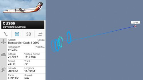 The plane repeatedly circled waters off Dampier. (Flightradar24)