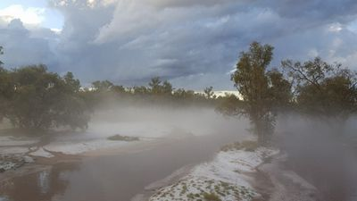 """<p>Tourist Sharryn Hall did not expect to see hail and fog while visiting the arid Northern Territory region.</p> <p>""""The Todd River.. dry and sandy when we arrived was running wild with its sandy edges covered in ice ...looking more like snow .. though beautiful the misty conditions created havoc on the roads ... trees uprooted and the Coles supermarket roof collapsed under the ice..."""" Ms Hall wrote on Facebook.</p> <p>(Sharryn Hall)</p>"""