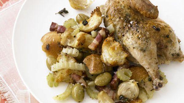 Marjoram-roasted spatchcock & Soave