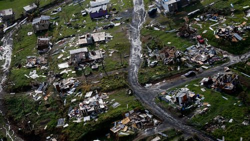 Destroyed communities are seen in the aftermath of Hurricane Maria in Toa Alta, Puerto Rico. (AP)