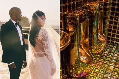 Kimye splashed an estimated $12 million on their Florence castle wedding in May 2014. For their reception, they installed a 15m-high golden toilet tower to give guests a right royal flush. This is the same couple that installed $750,000 gold loos in their Bel-Air mansion...<br/><br/>Image: Golden urinals at The Robot Restaurant, Tokyo.
