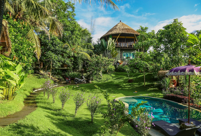 6. Balinese treehouse with tropical gardens and pool, Denpasar, Bali