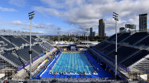 General view of the competition pool during a training session at the Gold Coast Aquatic Centre in the Gold Coast, Tuesday, February 27, 2018. (AAP)