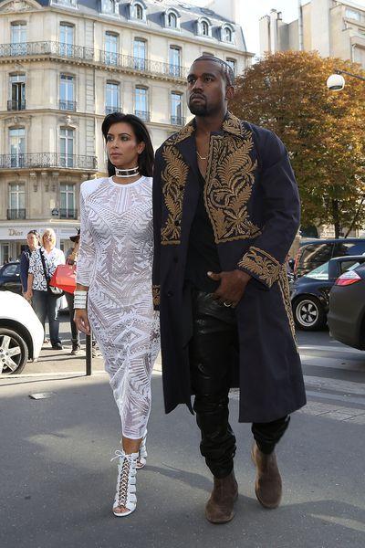 Kanye West and Kim Kardashian in Paris, September 2014