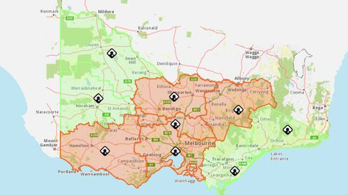 The thunderstorm asthma warning map for today (19/10/17)  (VicEmergency)