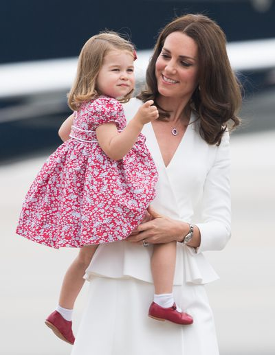 Duchess of Cambridge Kate Middleton and Princess Charlotte  at Warsaw airport during an official visit to Poland and Germany,  July, 2017